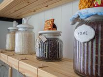 Rice in glass jar Put Royalty Free Stock Image