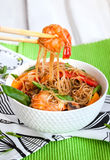 Rice glass noodles with shrimps and vegetables Stock Photos