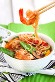 Rice glass noodles with shrimps and vegetables Stock Images