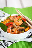 Rice glass noodles with shrimps and vegetables Stock Photography