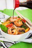 Rice glass noodles with shrimps and vegetables Royalty Free Stock Images