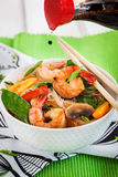 Rice glass noodles with shrimps and vegetables Royalty Free Stock Photography