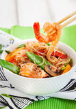 Rice glass noodles with shrimps and vegetables Stock Image