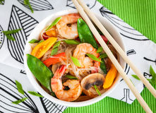 Rice glass noodles with shrimps and vegetables Royalty Free Stock Photo