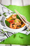 Rice glass noodles with shrimps and vegetables Stock Photo