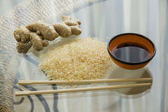 Rice on glass table. Stock Photography