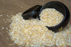 Rice grain. Rice in black wood container on the sack Royalty Free Stock Photo