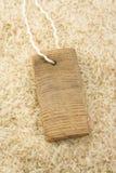 Rice grain and price tag Stock Photo