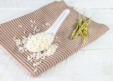 Rice grain in white spoon on a napkin Royalty Free Stock Image