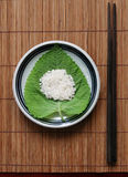 Rice on a green leaf - healthy eating Stock Photography
