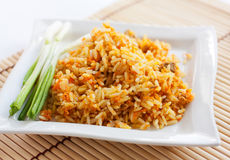 Rice with green onions and brown bread. On a white square plate.   on white Royalty Free Stock Photo
