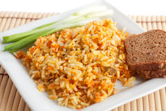 Rice with green onions and brown bread. On a white square plate.   on white Royalty Free Stock Images