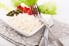 Rice with green-stuffs. On a festive table Stock Image