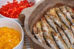 rice grillade sardines Fotografering för Bildbyråer