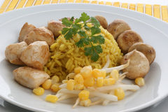 Rice with grilled chicken and corn Stock Image