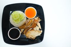 Rice with grilled chicken Stock Image