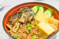 Rice And Grilled Mackerel Royalty Free Stock Image