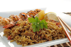 Rice and Grilled Shrimp Stock Photography