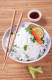 Rice with grilled zucchini Royalty Free Stock Photography