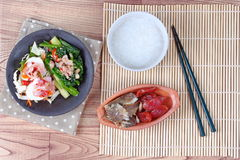 Rice gruel,Chinese sausage,kale with salted fish. Stock Photography