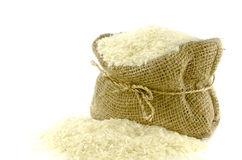 Rice in Gunny bag Stock Photos