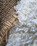 Rice With Gunny Bag Royalty Free Stock Photography
