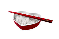 Rice in a hear bowl Stock Photos
