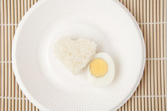 Rice heart and egg Royalty Free Stock Photos