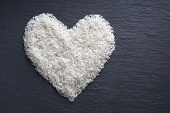 Rice in heart shape Royalty Free Stock Photo