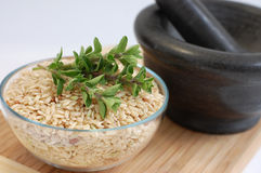 Rice with Herbs. A glass bowl full of wholegrain rice, a gray mortar and freshly picked oregano on a wooden cutting desk Royalty Free Stock Photo