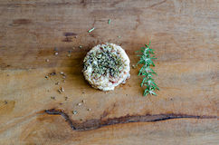 Rice and herbs. Brazilian ingredients in wood table Royalty Free Stock Image