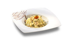Rice with herbs and pieces of meat Royalty Free Stock Image