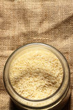 Rice hessian glass jar Royalty Free Stock Photography