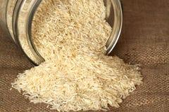 Rice hessian glass jar Stock Image