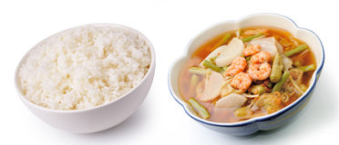 Rice and hot  sour curry with tamarind sauce Royalty Free Stock Photo