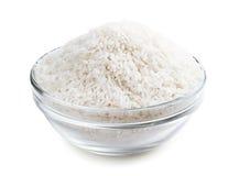 Rice i en glass bunke Arkivbilder