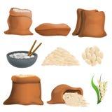 Rice icons set, cartoon style vector illustration