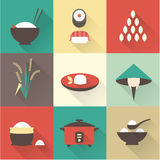 Rice icons Stock Photos