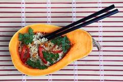 Rice In A Pumpkin Stock Photo