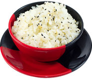 Rice. The Isolation japanese traditonal food in the decorated container royalty free stock photo
