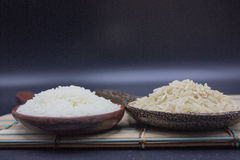 Rice and jasmine rice put in the ladles Royalty Free Stock Photos