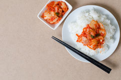 Rice with kimchi cabbage ready for eating Stock Images
