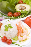 Rice with king prawns close-up Royalty Free Stock Photo