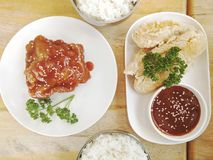 Rice with korean chicken stock image