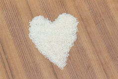 Rice laid  heart shape Royalty Free Stock Photography
