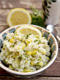 Rice with leek. Greek rice with leek, pine nuts and parsley Royalty Free Stock Photos