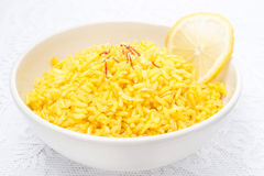 Rice with lemon and saffron Stock Images