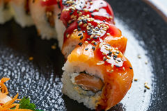 Rice Maki Sushi with salmon and tuna Royalty Free Stock Images