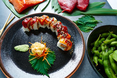 Rice Maki Sushi with salmon and tuna stock images