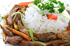 Rice and meat. Boiled rice and fresh meat Royalty Free Stock Image